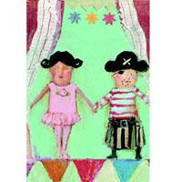 Kort med kuvert, Ballerina & Pirat