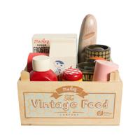 Vintage food, låda med matvaror