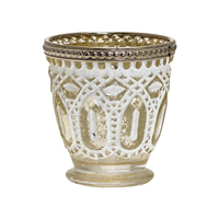 Tealight glass w/metal rim, Golden