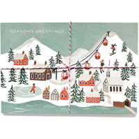 Set med 10 st vykort, Holiday Snow Scene