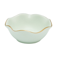Mini bowl w/wavy golden edge, Pastel green
