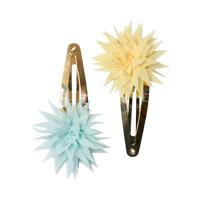 Set med 2 hårspännen, Dahlia Flower Clips Lemon & IceMint