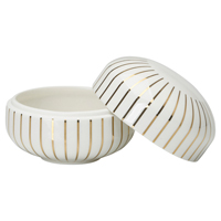 Bowl with lid, Stripe gold