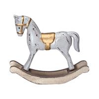 Decoration Rocking Horse, Warm grey w/gold