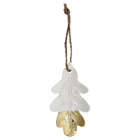 Ornament ceramic Acorn Leaf, White/gold