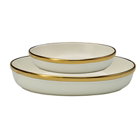 Oval Dishes, Gold rim