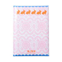 A5 Notebook, Pink lace with Rabbits