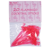 20 Plastic Flamingo Cocktail Sticks