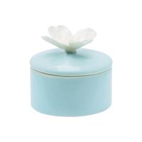 Jewelry box w/flower, Pale blue