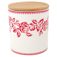 Storage jar Fleur red w/wooden lid