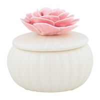 Jewelry box w/flower, Offwhite Large