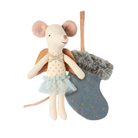 Mouse Angel with stocking, Blue