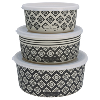 Round box Jackie, Dark grey set of 3