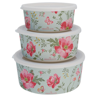 Round box Meadow, Pale blue set of 3
