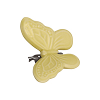Butterfly ornament, Pale yellow w/clip