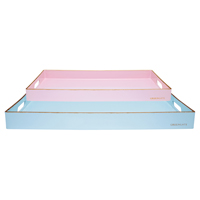 Tray rectangular w/gold set of 2
