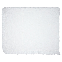Överkast Flower, White stitch w/frill