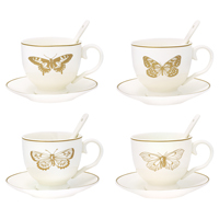 Cup & saucer w/spoon Butterfly gold set of 4