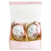 Decorative egg Maude, White set of 2 hanging