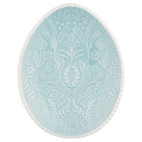 Oval plate, Pale blue