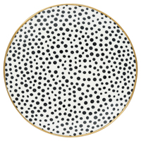 Assiette Dot, Black w/gold