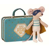 Superhjälte mus i resväska