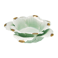 Flower candleholder w/gold, Pale green