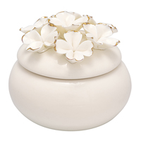 Jewelry box Flower, White w/gold small