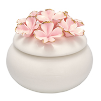 Jewelry box Flower, Pale pink w/gold small