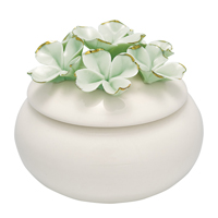 Jewelry box Flower, Pale green w/gold small
