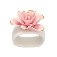Napkin ring Flower, Pale pink w/gold