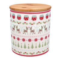 Storage jar Bambi, White w/wooden lid