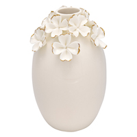 Vase Flower, White w/gold large