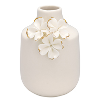 Vase Flower, White w/gold small