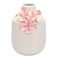 Vase Flower, Pink w/gold small