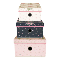 Storage box set of 3 assorted Marley, Pale pink