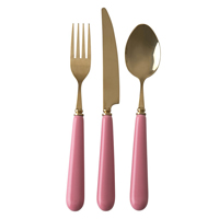 Cuterly in brass look with ceramic handle, Pink