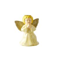 Ceramic candle holder in angel shape, Ljusgul