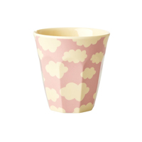 Melamine kids cup with Cloud print, Pink Small