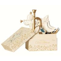Ask med julpynt, White/Gold 6 pcs