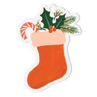 Set med 8 st gift tags, Stocking Die-Cut