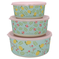 Round box Limona, Pale blue set of 3