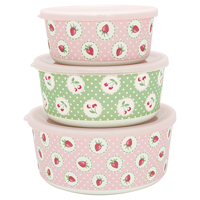 Round box Strawberry, Pale pink set of 3
