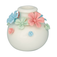 Candle holder Daisy multicolor round medium