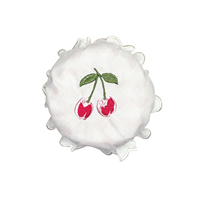 Jam lid cover Cherry berry, White w/embroidery