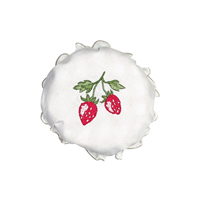 Jam lid cover Strawberry, White w/embroidery