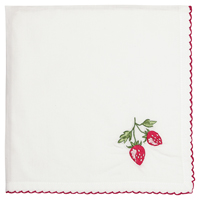 Servett Strawberry, Red w/embroidery
