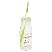 Bottle Lily, Petit white w/lid and straw