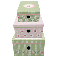 Storage box Mary, White set of 3 assorted