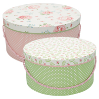 Storage box round Meryl mega, White set of 2
